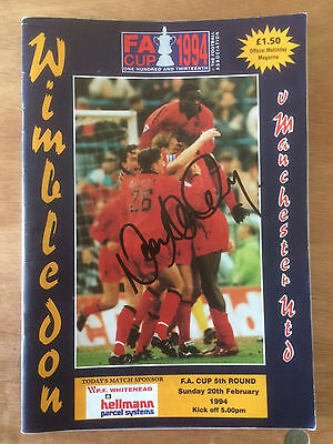 Wimbledon v Manchester United programme - FA Cup - signed by Neal Ardley