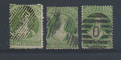 NEW ZEALAND 1864-71 1s YELLOW-GREEN THREE SHADES GU SG 125 CAT £360