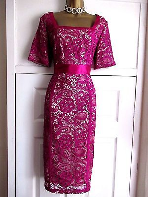 Berry Guipure Lace Mother of the Bride Groom Dress Wedding Occasion Size 12 / 14
