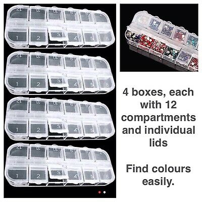 4x Boxes For Diamond Cross Stitch Painting. 12 Compartments, Individual Lids UK