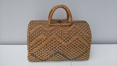 Vintage Wicker Market Shopping Bag Handbag Case Basket Grab Bag
