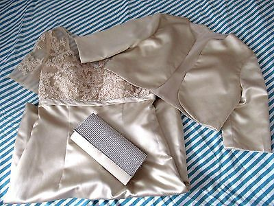 Champagne Mother of the Bride Dress Suit Jacket & Bag Outfit Size 14 / 16