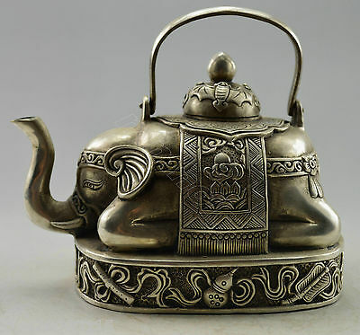 Collectible Decorated Old Handwork Silver Plate Copper Carved Elephant Tea Pot