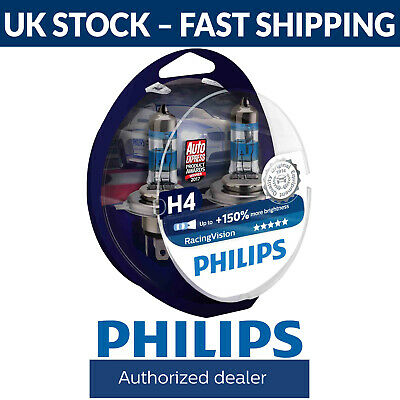Philips Racing Vision RacingVision H4 Headlight Bulbs Twin Duo Box 12342RVS2