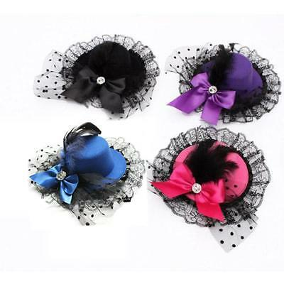 Mini Party Fascinator Bowknot Feather Hat Hair Clip Lace