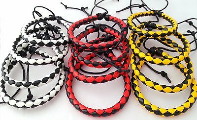 12 Twisted PU Leather wristbands Black/Red, Yellow/Black, White/Black