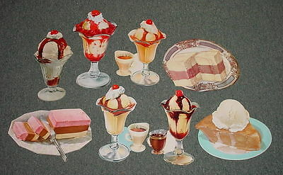 Original Vintage Lot Of 8 1960's Ice Cream Die Cut Paper Sign   Lot Number 3