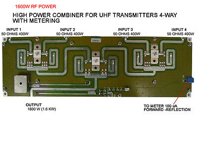 1,600W UHF POWER SPLITTER / Combiner RF Gain 4Ways 1.6KW OUTPUT POWER WIDEBAND