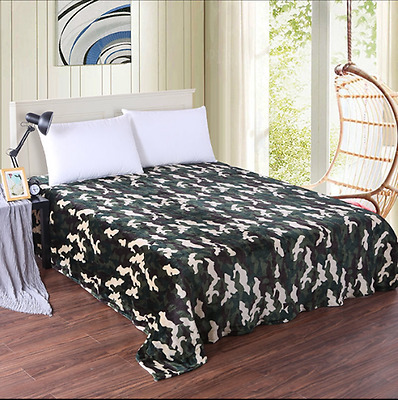 X Large Soft Queen/King Mink Blanket 2.1 x 2.3 Meter - Army Camouflage Green