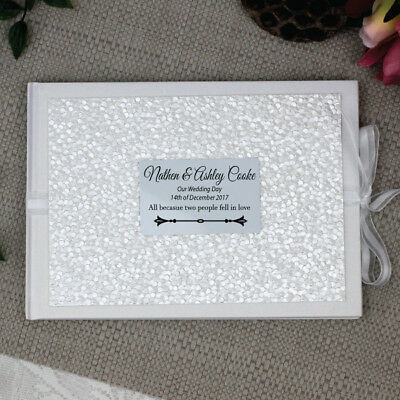 Wedding Guest Book Memory Album - White Pebble - Add a Name & Message