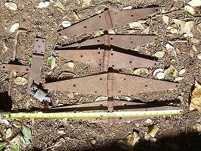 Blacksmith Made 16+24 inch Hinges working Rusty Barn Farm Door Gate can split