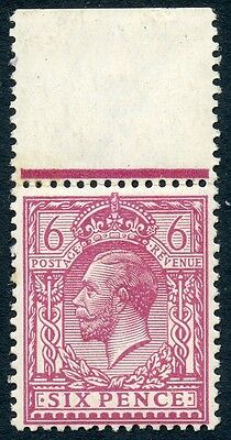 1913 6d rosy mauve MNH, top marginal example with INVERTED watermark Cat. £70.