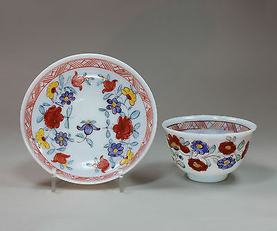 Antique German milk glass teabowl and saucer, 18th century
