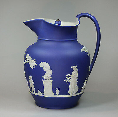 Antique Wedgwood Jasperware blue basalt jug, mid 19th century