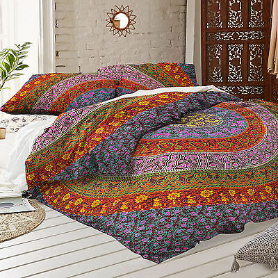 4pcs Indian Mandala Queen Reversible Comforter Set & Sheets Bed in a Bag Cotton