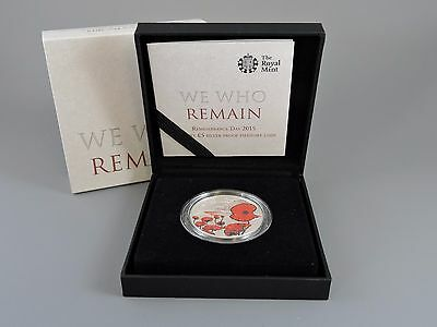 Alderney 2015 silver proof piedfort £5 coin Remembrance Day We Who Remain  + COA