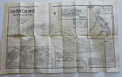 1898 J L Smith Map Of Cuba Puerto Rico Philippine 1960 Facsimile Edition Cuba