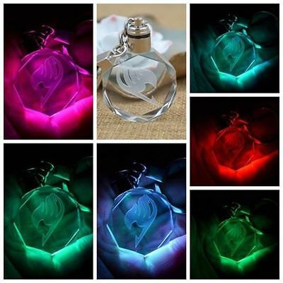 New Fairy Tail Anime Crystal LED Light Charm Key Chain Key Ring Cosplay 1PC BM
