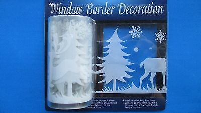 SALE! 2m Window Border Cling Sticker Reindeer Snow Vintage Christmas Decorations