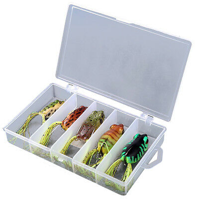 Frog Lure Bass Fishing Hooks Bait Tackle Topwater 5pcs Soft Baits with Box UK FK