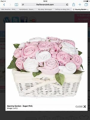 Flower Stork Sugar Pink Baby Hamper basket Gift Set (new Baby)