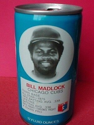1977 BILL Madlock BASEBALL RC Cola steel can Royal Crown Vintage Chicago CUBS 1