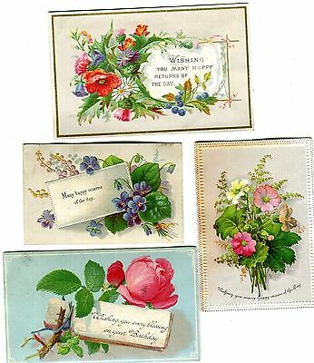 Victorian Birthday cards , small ,early x 4,Flowers & Greetings.