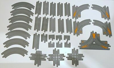 Lot of 32 Geotrax Gray Train Track Switches Straight Curved Ramp Fisher Price