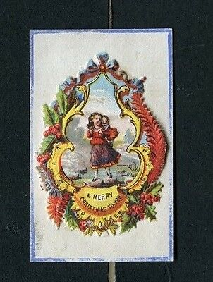 Victorian Christmas Card ,very small ,early,Scrap ,Children ,Holly,Ferns ,