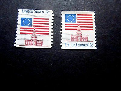 Coil 13 cent Flag #1625, US is above the flag, Normal is below, 1975, Used/Fine