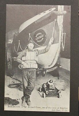Mr Richard Gunn Crew of Brighton Lifeboat Vintage Postcard