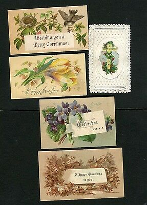 Victorian Christmas /New Year Cards x 5 ,very small ,Birds ,Nest ,Flowers,Cross.