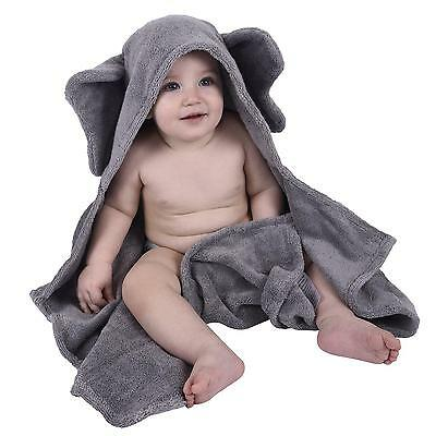 Baby Bath Hooded Towel Elephant 100 Organic Cotton Soft Thick Large Gray NEW