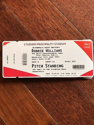 Robbie Williams Ticket Cardiff 21st June COLLECT FROM CARDIFF TOWN CENTRE