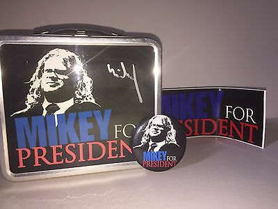 American Chopper Mikey For President Signed Lunch Box, Badge & Sticker