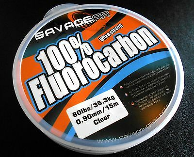 100% FLUOROCARBON SAVAGE GEAR 0.90mm / 80 Lbs / 36,3 kg / 15m