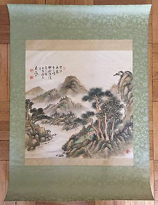 Antique Japanese/chinese Landscape Original Watercolor Painting On Silk, Signed
