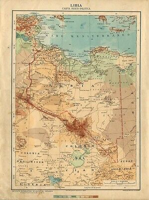 Carta geografica antica LIBIA COLONIA ITALIANA 1926 Old antique map