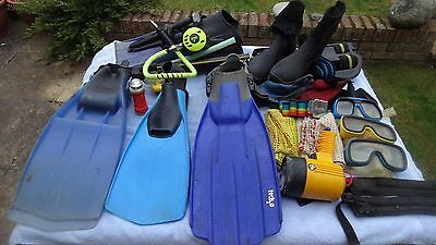 Scuba Diving gear.Masks snorkals gloves wet-boots torches Fins Goody bag