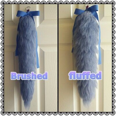 22 inch storm grey blue yarn tail cosplay therian kittentail wolftail
