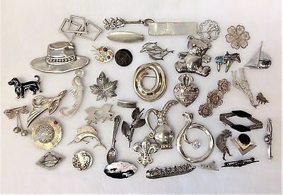 Lot of 40 Vintage & Antique STERLING SILVER Mixed Theme & Design Brooches-350 GR