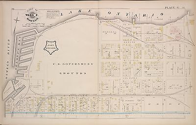 1880 OSWEGO NY U.S. GOVERNMENT GROUNDS FORT ONTARIO RIVER TO E 13th ST ATLAS MAP