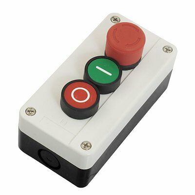 NC Emergency Stop NO Red Green Momentary Push Button Switch Station 600V 10A FK