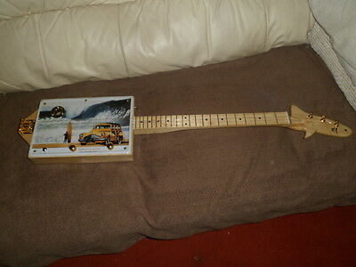 cigarbox style all hand crafted 3 string electric guitar