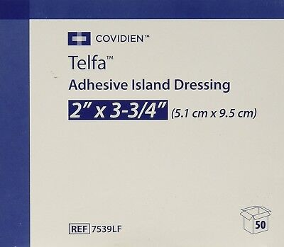 "Covidien Telfa Adhesive Island Wound Dressing 2"" x 3-3/4"" 50 Count"
