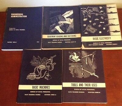US NAVY Training Books Navel Vintage Military Tools Handbooks Lot 5