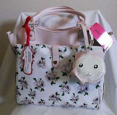 Betsey Johnson Roll Out Floral Pink Roses Baby Diaper Bag / Weekender / Tote Nwt