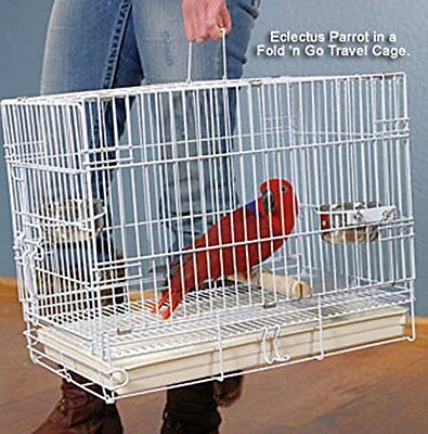 NEW Foldable Parrot Bird Travel Carrier Cage With Wood Perch Feed Bowls WTE-374