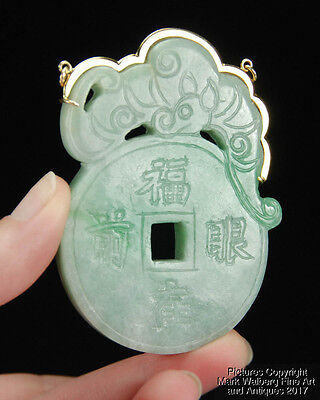 Chinese Jadeite Pendant / Plaque, 14K Gold Mount, Bat, Coin and Character Design