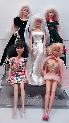 Vintage Lot of 5 Barbie Dolls Clothing Gown Wedding Dresse Asian